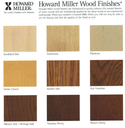 Howard Miller Clock Wood Finishes></p>