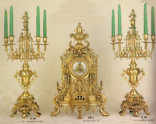 Farbel Mantel Clock with matching Candleabras - OB/1FG and C59