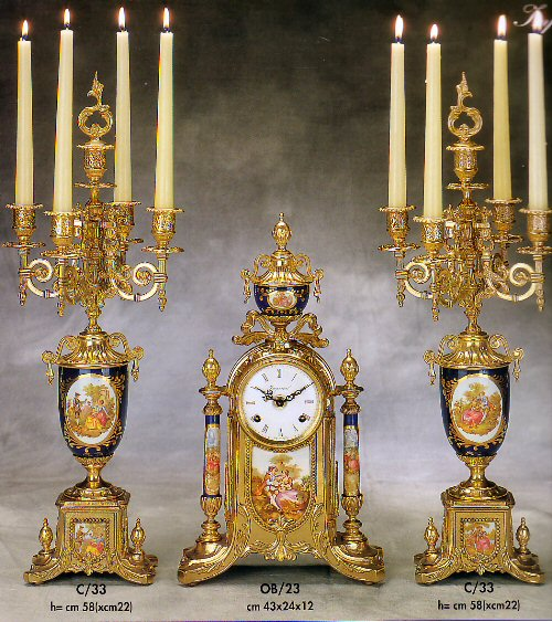 Farbel Mantel Clock with matching candelabras - OB23BR and C/33