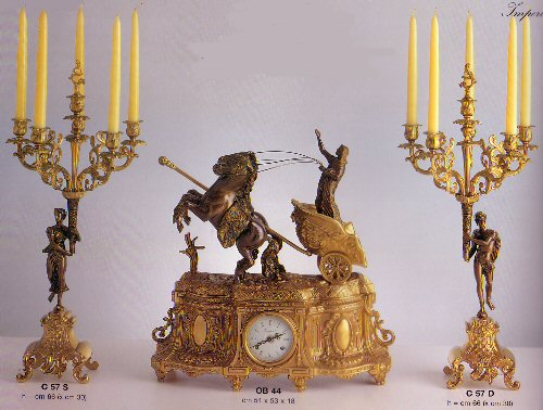 Farbel Mantel Clock with matching candelabras - OB/44FG and C57