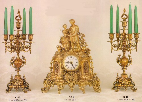 Farbel Mantel Clock and matching candleabras-OB/4G and C45