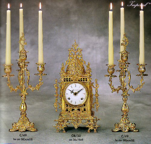 Farbel Mantel Clock with matching candelabras - OB/50FG and C/49
