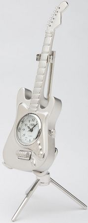 C253SIL - Silver Electric Guitar Clock with stand