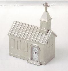 Platinum Religious Miniature Clock -C401SIL-R - Church Clock