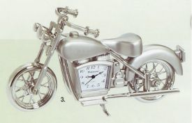 Platinum Transportation Miniature Clock-C263SIL-Motor Cycle