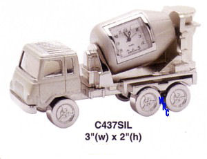 Platinum Miniature Clock - Cement Mixer Truck